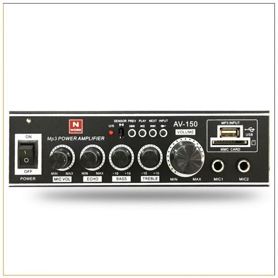 Nwork Av-150 2 Mikrofon Girişli Usb/sd Mp3 Player Amfi
