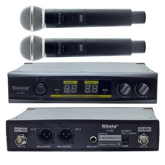 König K-402 Uhf Çift Kanal 2 El Mikrofonu
