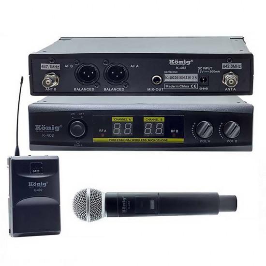 König K-402 Uhf Çift Kanal 1 El + 1 Yaka Mikrofonu