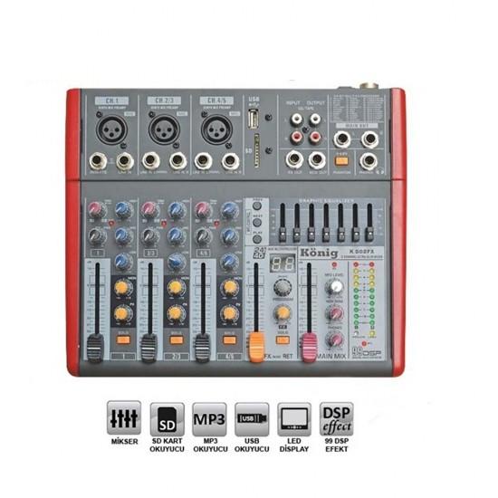 König K-502FX 5 Kanal Ultra İnce Mixer