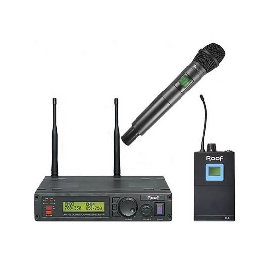 Roof R-1200 (1 El+1 Yaka) 2 Kanal Kablosuz Mikrofon